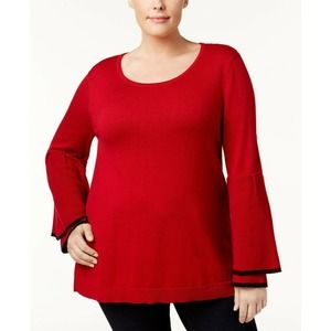 Style&Co Red Black Trim Ruffled-Sleeve Sweater